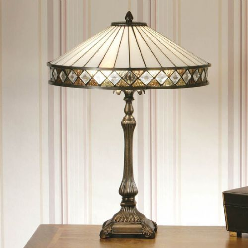Fargo Table Lamp White (Art Deco, Traditional, Medium Table Lamp) T004T (Tiffany style)